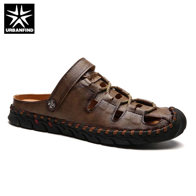 Brand Fashion Men Summer Leather Sandals Size 38-44 Retro Rome Style Man Outdoor Shoes Slip-on Beach Slippers