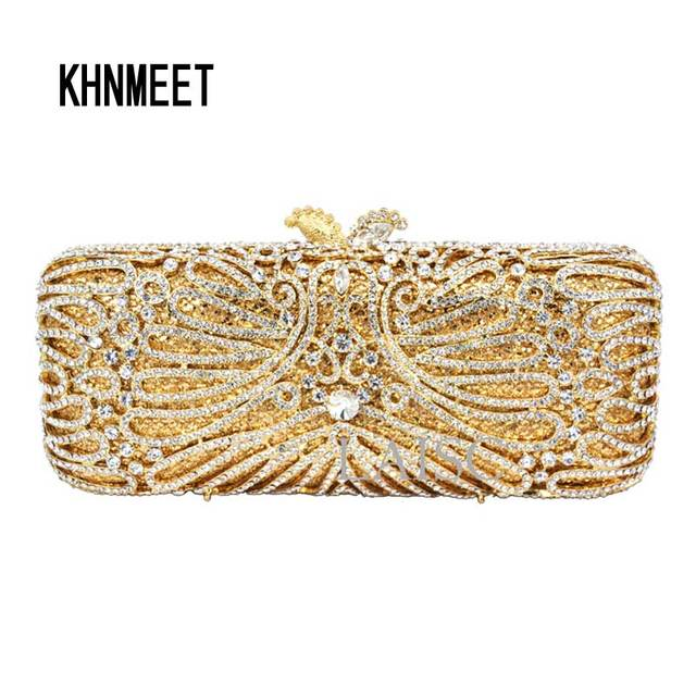 Long Gold Clutch bags Women Luxury crystal Prom handbags Ladies Evening Bag  Rhinestones pochette Party Purse Day Clutches SC233 bafefde59b54