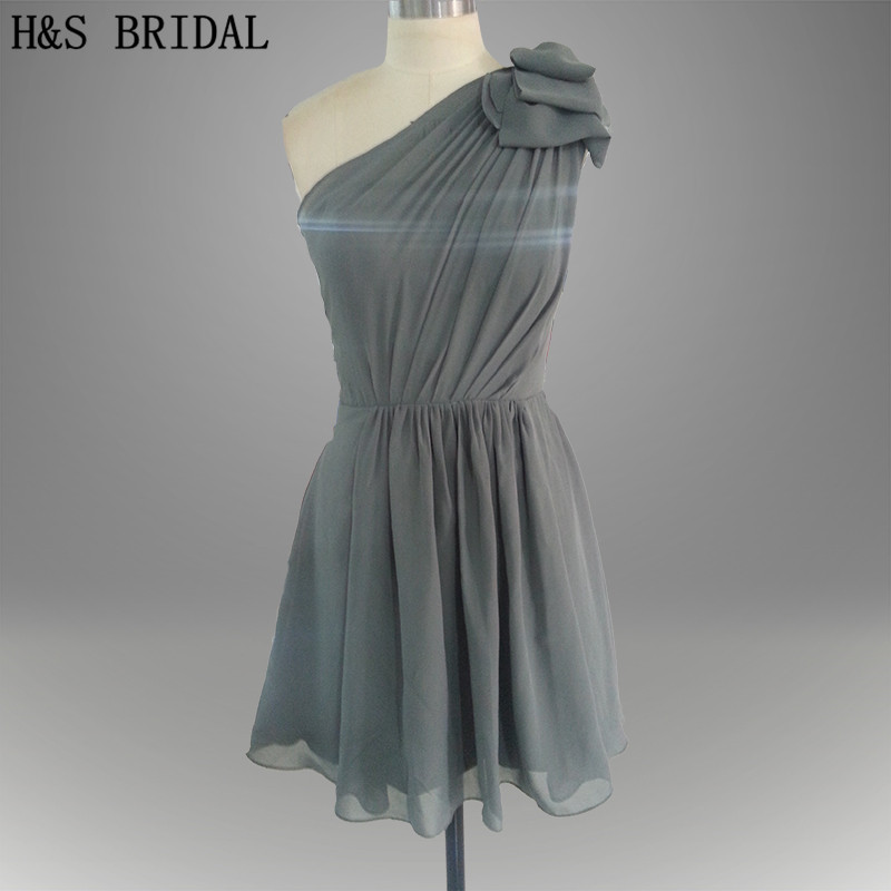 Real Model One shoulder Flowers Simple Short Grey   Bridesmaid     Dress