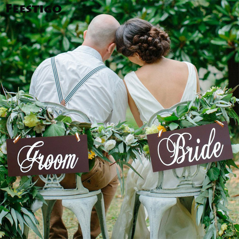 Feestigo 2PCS/Set Vintage Wooden Groom&Bride Hanging Chair Banners Signs For Wedding Venue Table Decorations PhotoBooth Props