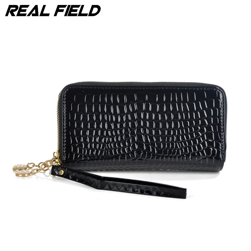 Real Field RF New Fashion Women Clutch Bag Bonded Split Leather Wristlet Lady Purse Croc ...