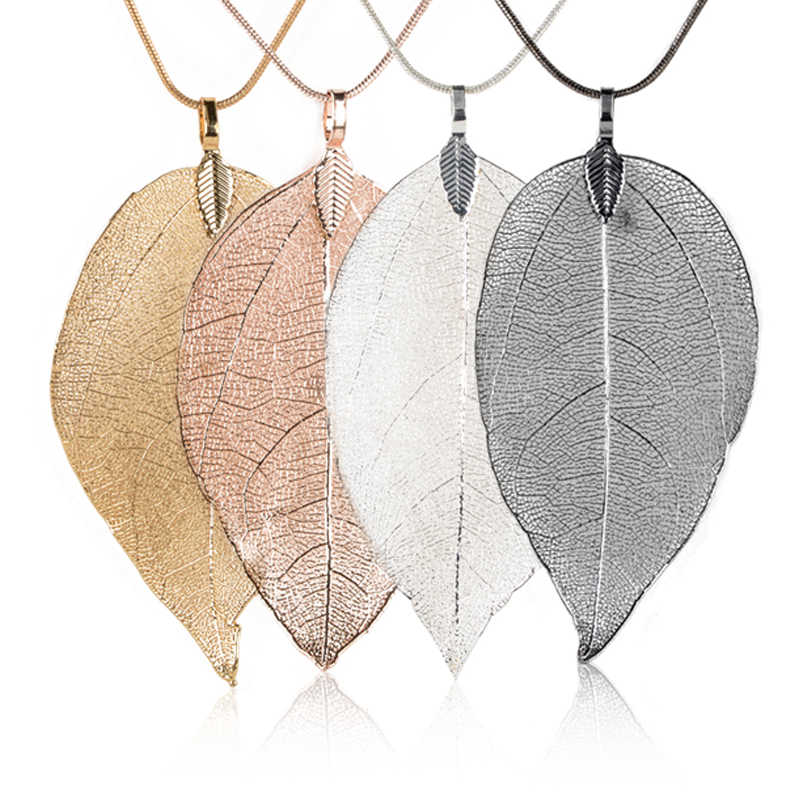 Real Leaf Necklace Natural Leaves Pendant Long Sweater Chain Necklace Silver Gold Black Rose Gold Necklace Women Fashion Jewelry