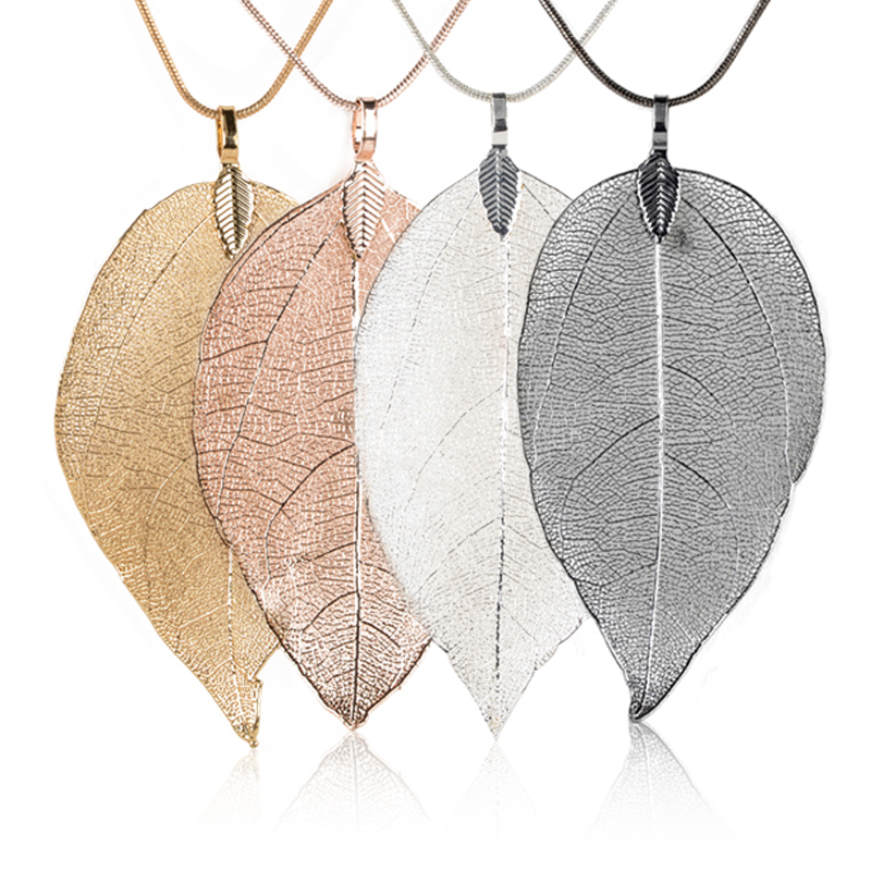 Women Fashion Unique Necklace Jewelry Charm Pink Black Gold Leaves Real Nature Leaf Pendant Long Sweater