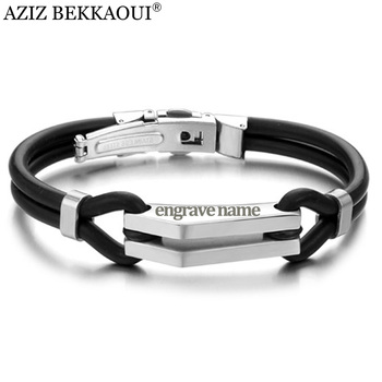 2129a0333ec0 AZIZ BEKKAOUI pulseras de goma de silicona para Mujeres Hombres ajustable  Acero inoxidable hombres brazalete joyería personalizada nombre