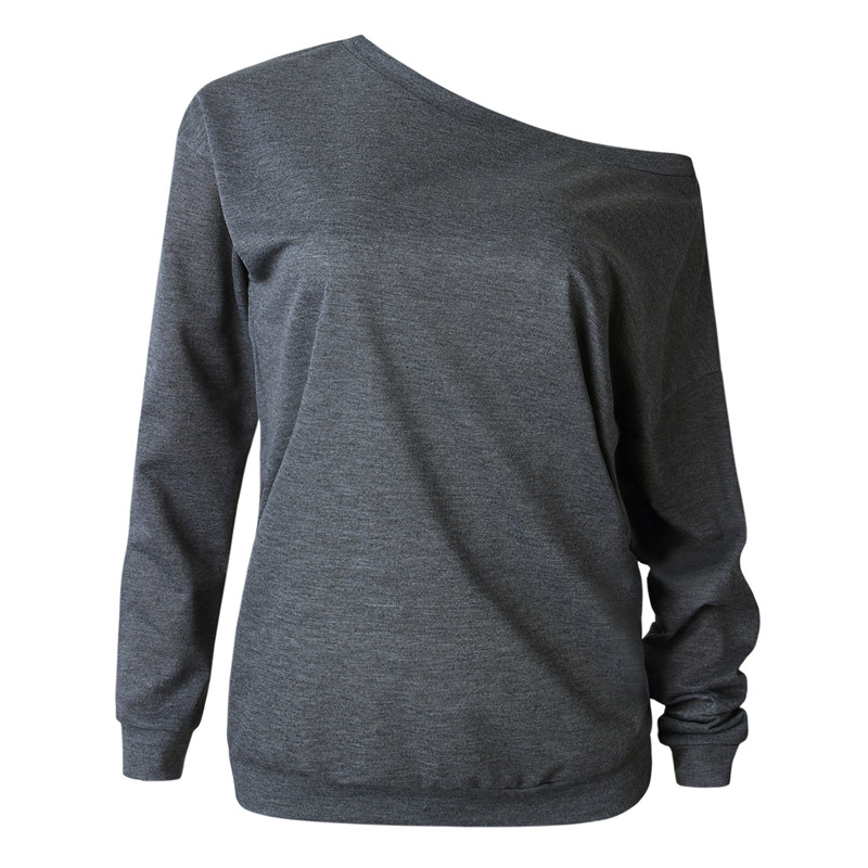 19 New Autumn Long Sleeve Women Casual Sweatshirts Off Shoulder Black Gray Tops Sweatshirts Streetwear Female Loose Sweatshirt 9