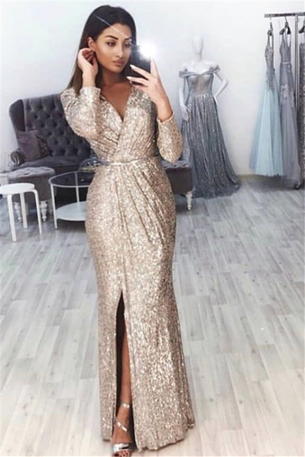 New Stunning Sequins   Prom     Dresses   Long Sleeve B-neck Sexy Slit   Dress   For Women Evening Party