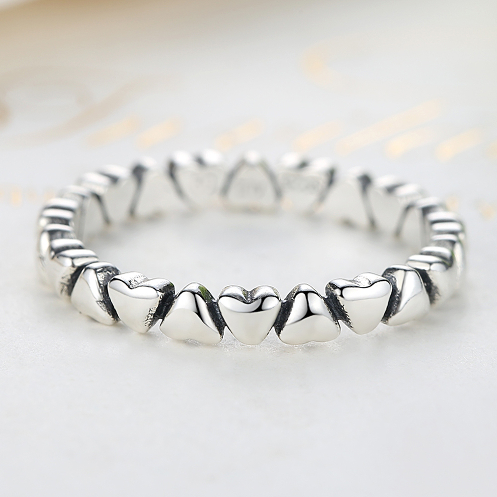 ELESHE Authentic 925 Sterling Silver Stackable Ring Forever Love Heart Finger Ring for Women Original Jewelry Gift bague femme in Wedding Bands from Jewelry Accessories