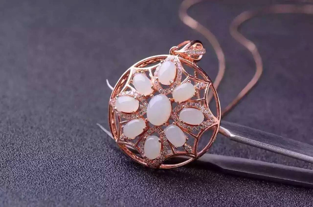 natural white jade pendant S925 silver Natural gemstone Pendant Necklace trendy Luxury round Circle women gril jewelrynatural white jade pendant S925 silver Natural gemstone Pendant Necklace trendy Luxury round Circle women gril jewelry