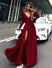 Sexy Evening Dresses Long Side Split Chiffon Evening Gowns Long Formal Women Prom Party Gowns Robe De Soiree Abendkleider цена