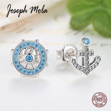 Joseph Mola 925 Sterling Silver Asymmetry Blue Rudder & Anchor CZ Stone Fine Stud Earrings for Women Party Birthday Gift Wedding(China)