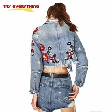 Try Everything Flowers Embroidery Jeans Jacket Women 2017 Ripped Punk Denim Vintage Jacekt Female Short Spring Autumn Coat