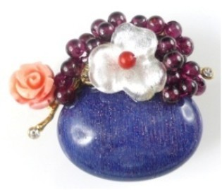 Semi-precious Stone Brooch Pins Lapis Brooch With Flower Free Shipping недорго, оригинальная цена