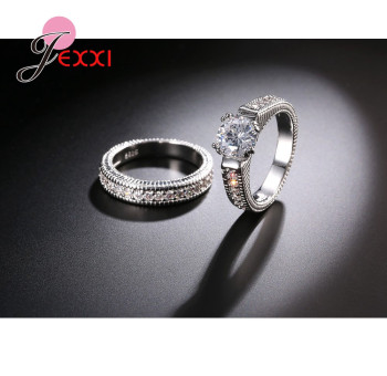Classical Weeding 925 Sterling Silver 2 PCS Finger Rings For Women Men Super Shining Cubic Zirconia Crystal Accessories 5
