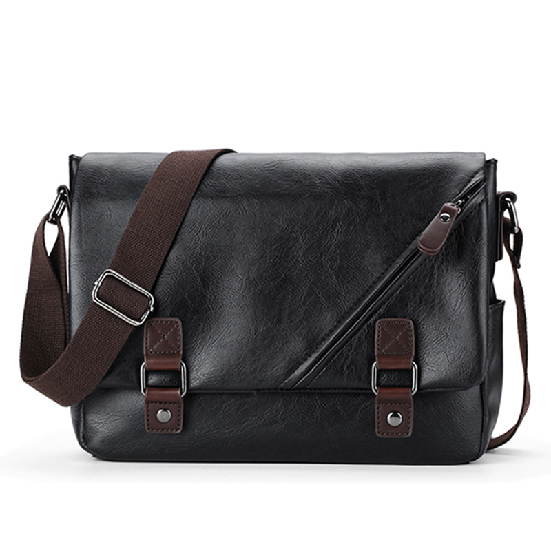 0a2707c0abec6 Luxury Brand Leather Men s Messenger Bag Male Black Business Sling Bags  Vintage Crossbody Bags For Men