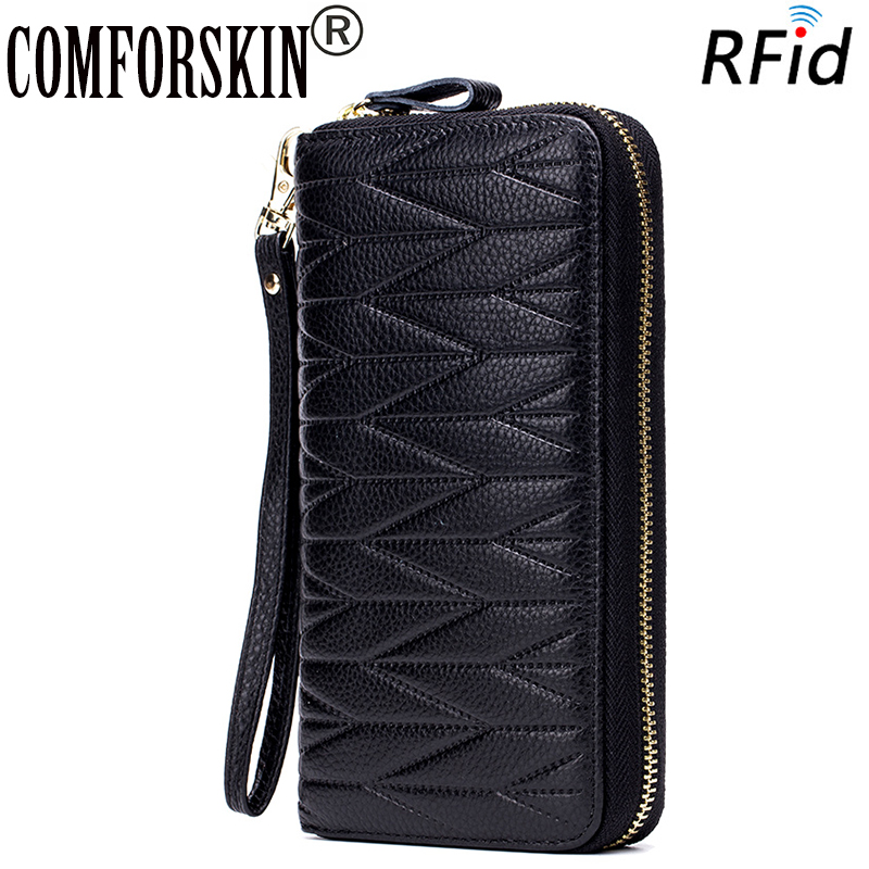 COMFORSKIN New Arrivals RFID Protection Cowhide Leather 100% Guaranteed Multi-Card Bit Women Wallet Hot Brand Geometric Purses