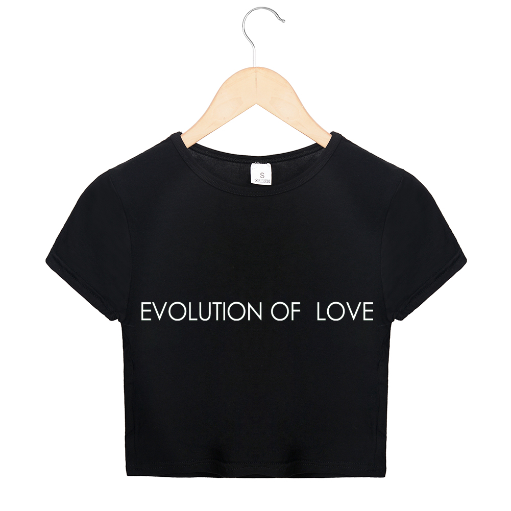 Evolution Of Love Letters Print <font><b>Crop</b></font> <font><b>Top</b></font> 2018 Women Kawaii <font><b>Sexy</b></font> T Shirts Summer Black White Streetwear <font><b>Tumblr</b></font> O Neck <font><b>Top</b></font> Tees image
