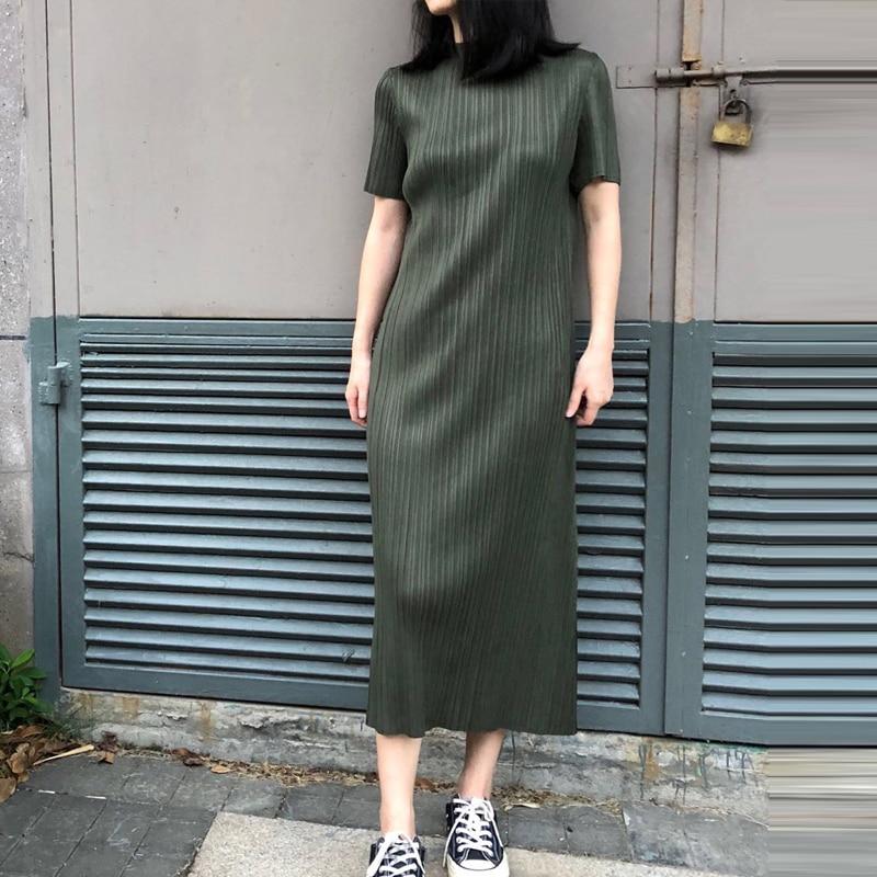 Mode Black Taille Plissée Femme Robe 2018 Stand Size navy Solid olive Changpleat Slim Courtes Manches Green Miyak Plus Élastique Nouveau Col Femmes Robes À R60q8a