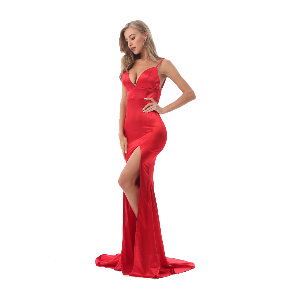 2019 Summer V Neck Stretch Split Leg Maxi Dress Satin Bodycon Backless Floor Length Dress Tight