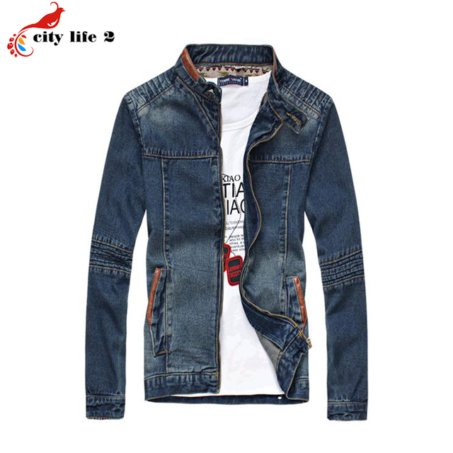 Men's Denim Jacket Plus Size M-5XL Denim Jacket Jeans Stand Collar Male Clothing Spring 2016 Autumn Outerwear Jaquetas Masculino