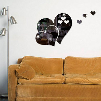 20cm Acrylic heart shape Mirror Wall Stickers Mirror  Effect Removable Love 3D Wall Surface Sticker DIY Home Decoration 4 Colors 9