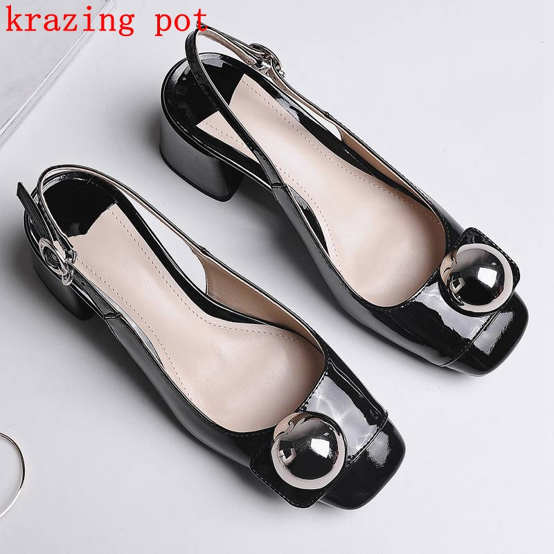 Fashion Genuine Leather Brand Shoes Runway Pearl Luxury High Heesl Women Sandals Slingback Office Lady Party Causal Shoes L10