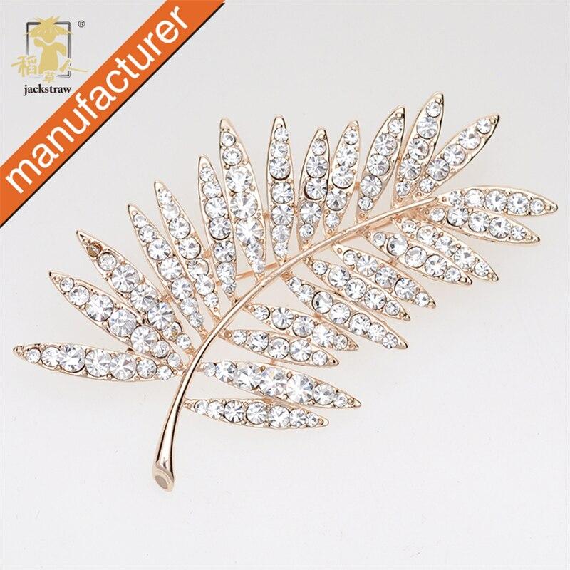 Jackpaille strass feuilles broche plume broche femmes hommes peuvent porter broche bijoux personnalisés Broches Para As Mulheres Pin