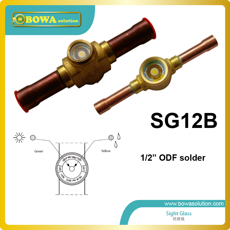 1/2 ODF connection sight glass for heat pump water heater replace Danfoss SG products