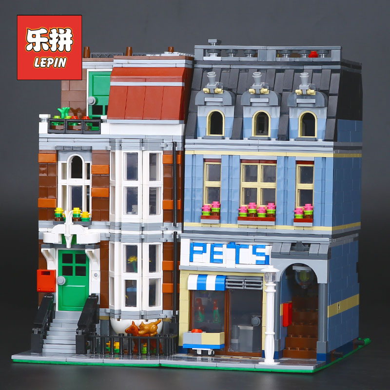 LEPIN 15009 City Building Series Creator set Pet Shop Model Building Kits Blocks Bricks DIY Educational Toy 10218 Kids Birthday lepin 15018 3196pcs creator city series sunshine hotel model building kits brick toy compatible christmas gifts