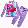 New TROLLS Conjuntos de Pijama Meninas Primavera Conjunto de Roupas de Algodão Dos Desenhos Animados Para meninas Camisa de Manga Comprida + Calças 2 Peças Terno Crianças Roupas