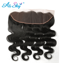 Ali Sky Body Wave Indian Virgin Hair 13*4 Lace Frontal 1pc Ear To Ear 8″-20″ Free Part Human Hair Extensions Natural Color 1B#