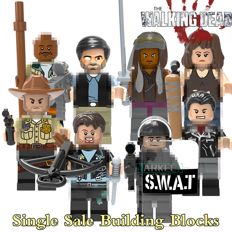 Building Blocks Michonne Daryl Dixon Maggie Green Glenn Rhee Rick Grimes Negan Super Heroes The Walking Dead Figures Toys X0156 ...