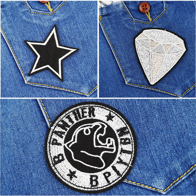 Black Embroidery Iron On Patches Stars Anchor Diamond