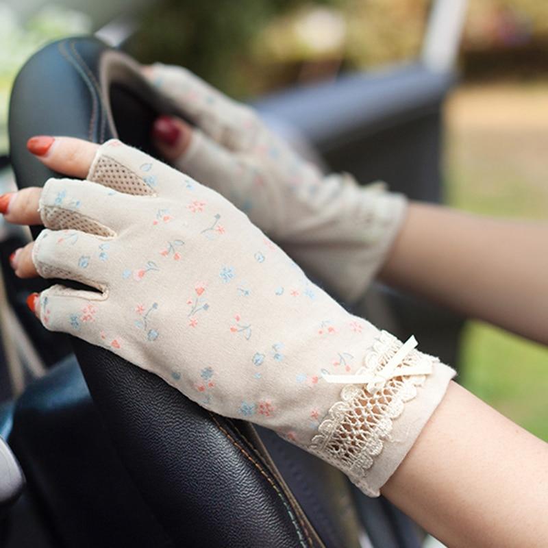Summer Sunscreen Semi-Finger Gloves Female Pure Cotton Floral Printed Driving Anti-Slip Anti-UV Thin Women Mittens TB49
