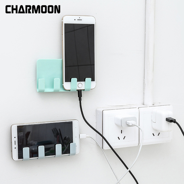 Charmoon Universal Wall Mounted Phone Holder Charging Stand With Adhesive For Iphone 8 X 7