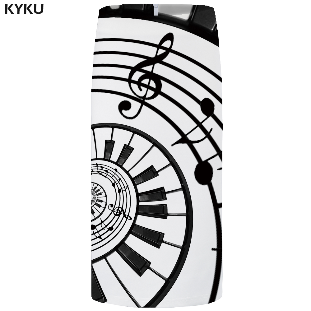 KYKU Brand Music Skirts Women Note 3d Print Skirt Black And White Party Sexy Pencil Floral Ladies Skirts Womens Office