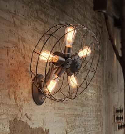 Loft American country rust iron electric fan edison bulbs wall lamp retro bedside lamp wall lamp bedroom lamp