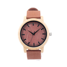 Handmade 100% Nature Bamboo Wooden Watch For Men and Women With Nylon Watchband Great Gift