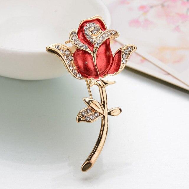 Kristal Merah Rose Pins Rhinestone Bunga Bros Wanita Aksesoris Pakaian Lucu Wanita Pernikahan