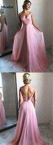 Image 4 - Vestidos Elegantes largos de dama de honor con cuello en V 2019, Vestidos sexis sin espalda para baile de graduación, Vestidos de fiesta económicos hechos a medida