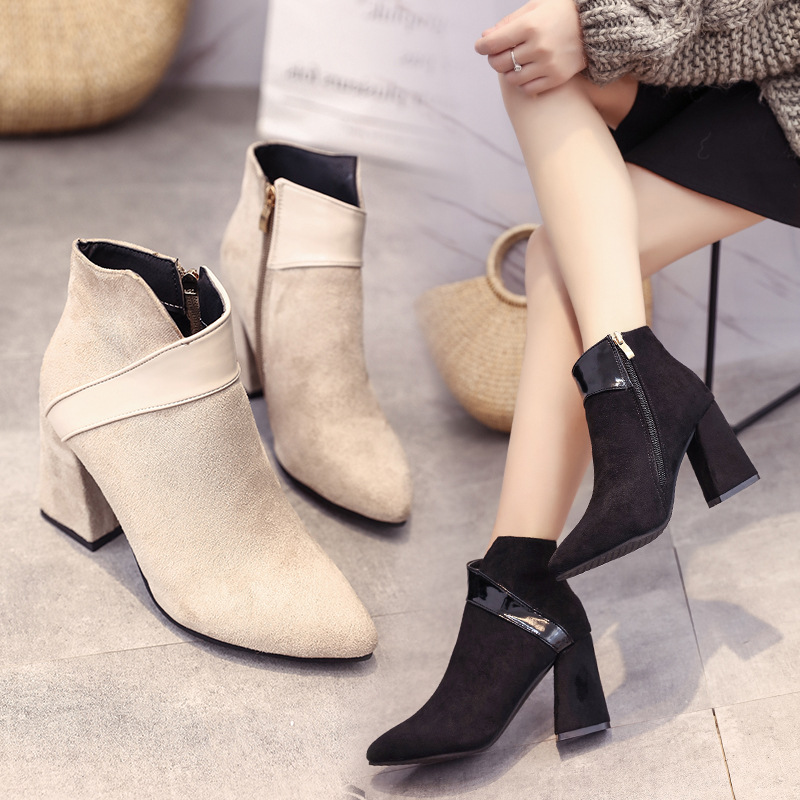 High heels shoes women autumn winter sexy pointed toe ankle boots ladies retro chunky heels short boots botas mujer beige black 47