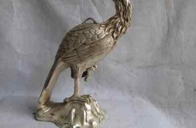 12中国民芸ホワイト銅銀動物ポーリングオウムオウム鳥像