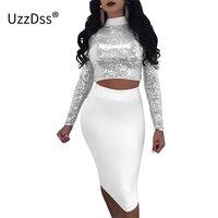 UZZDSS Women Sexy Sequins Lace Up Dress 2018 Fashion 2 pieces Turtleneck Vestidos Elegant Sexy Club Party Midi Dresses