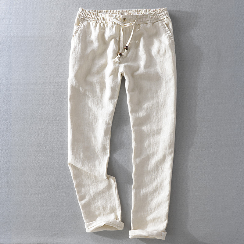 Men 2019 Spring And Autumn Fashion Brand Japan Style Vintage Linen Solid Color Straight Pants Male Casual White Pants Trousers