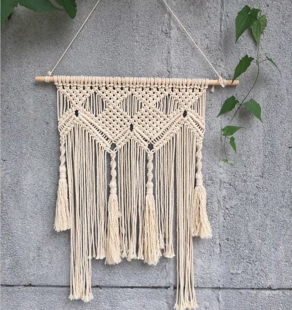 Bohemian Macrame Hand Woven Simple Home Hang Up Living Room Wall Hanging Decorations Indian
