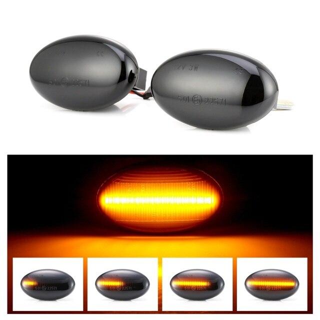 2Pcs LEDแบบไดนามิกรถด้านข้างไฟสำหรับMercedes Benz Repeaterสัญญาณโคมไฟสมาร์ทW450 W452 A Class w168 Vito W639 W447