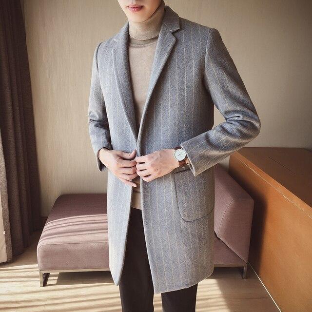 75c48f5c8 € 33.93 32% de DESCUENTO Aliexpress.com: Comprar 2019 Europeo Americano de  los hombres de la moda largo abrigo de lana abrigo macho chaqueta de ...