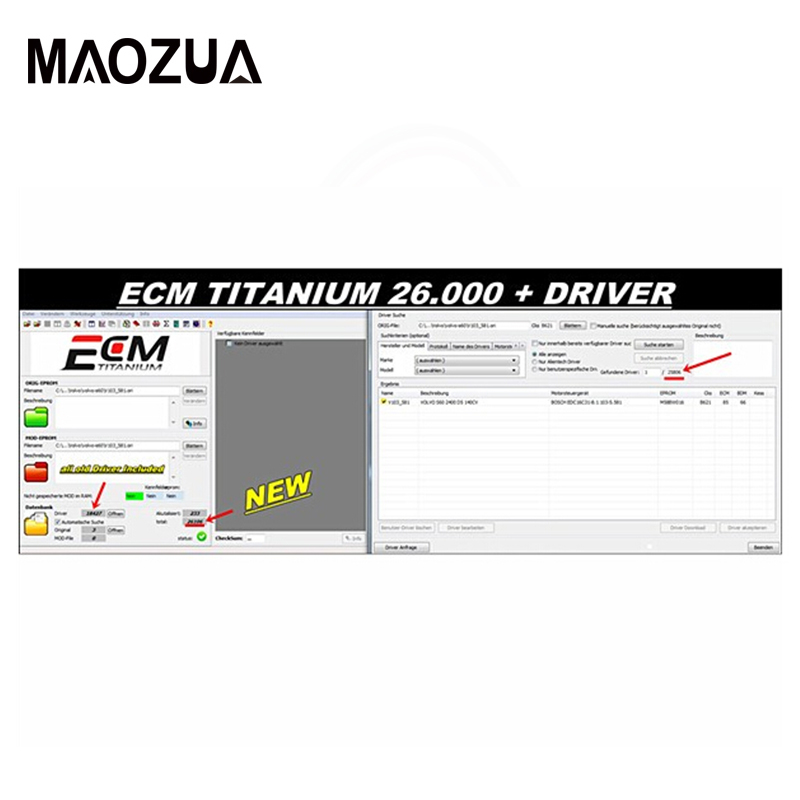 Maozua Newest Version ECM Titanium 1.61 With 26100+ Driver For Ktag And Kess