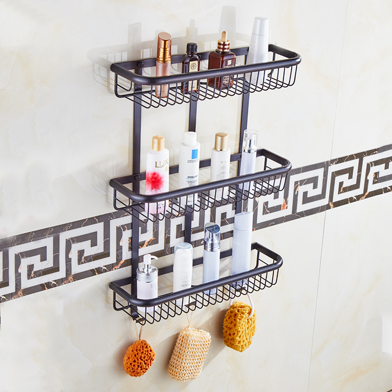 Quality Bathroom Shelves Pure Copper Long Square Basket Hollow Out Triple Tier Hooks Cosmetic Rack Shower Shampoo Accessorie