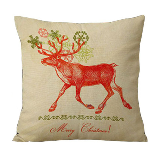 Creative elk and cotton and linen sofa bed pillows Christmas gifts ...