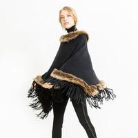 Autumn Winter Fur Round Collar Cashmere Fox Fur Poncho Shawl Cape Scarf Women 2018 Tassels Pullover Cloak Coat Pashmina Scarves